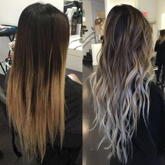- All For Hair Color Balayage Brown Hair Balayage, Blonde Hair With Highlights, Brown Blonde Hair, Hair Color Balayage, Ombre Hair Color, Brunette Hair, Long Ombre Hair, Silver Ombre Hair, Blonde Honey