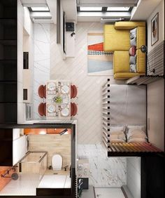 Small Apartment Layout, Studio Apartment Layout, Small Apartment Interior, Small House Interior Design, Home Room Design, Tiny House Design, Home Design Plans, Small Apartment Plans, Studio Apartment Living