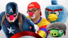 Toy Car Clown - APPLE BATTLE with Captain America  - Toys Videos for Kids!