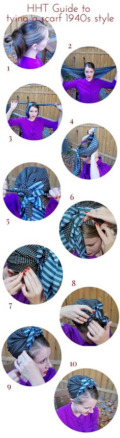 How to wrap a head scarf 1940s style