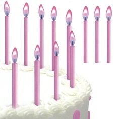 Pink Flame Birthday Cake Candles (12) 2.90 mailing list