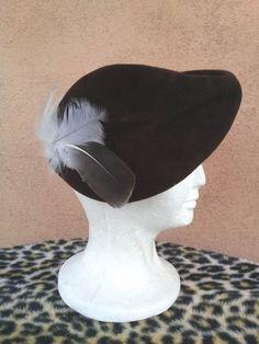 Vintage 1940s Hat Tilt 40s Capulet Beret Brown Wool Asymmetrical Sculptural 2016395