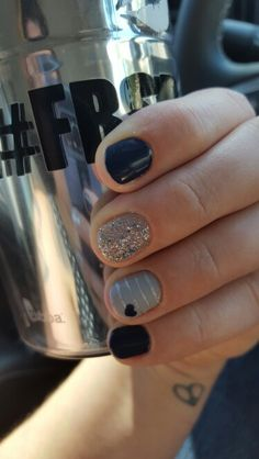 Fall nails design in navy gray hearts silver glitter and stripes. Shellac no acrylic