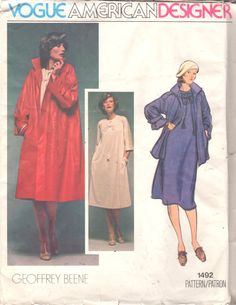 Vogue 1492 1970s Misses Tent DRESS and Swing Coat by mbchills