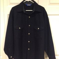 Black thick button down Pendleton sweater. Button down Pendleton sweater. Thick 100% virgin wool. Great condition. Made in the USA, solid black. Pendleton Sweaters