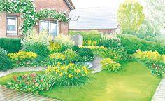 Beete in freundlichen Gelb- und Orangetönen machen aus einer ehemals langweiligen Rasenfläche vor dem Haus einen blühenden Vorgarten. (Pflanzplan als PDF zum Herunterladen und Ausdrucken)