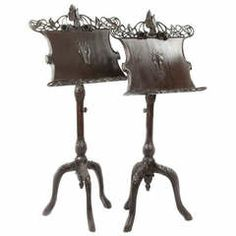 Pair of Art Nouveau Music Stands in Carved Mahogany