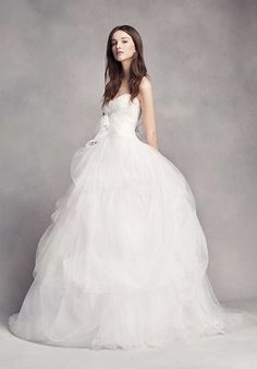 Couture strapless white tulle skirt ballgown wedding dress; Featured Dress: White by Vera Wang