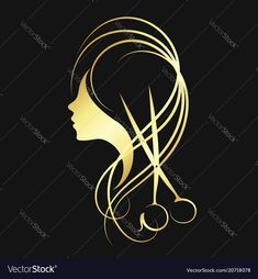 Scissors and a girl of gold color Royalty Free Vector Image Hairstylist Memes, Hair Salon Logos, Barber Logo, Carved Wood Signs, Beauty Salon Logo, Color Vector, Parlour, Gold Hair, Logo Design Inspiration
