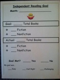 FREE Independent Reading Goal (Reader's Workshop) *Microsoft Word Document