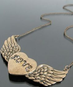 #SheInside Gold Crystal LOVE Heart Wing Necklace - Sheinside.com