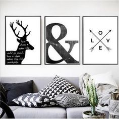 Abstract Minimalist Symbol Canvas Painting Black White Nordic Scandinavian Wall Art Picture Poster Print Living Room Home Decor(China) Black And White Interior, Black And White Wall Art, Black White, Abstract Canvas, Canvas Wall Art, Canvas Prints, Artist Canvas, Art Prints, Elegant Home Decor