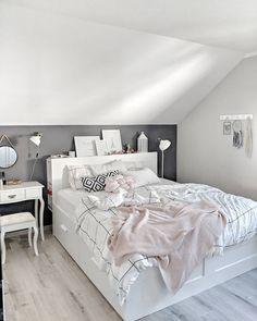 Scandi bedroom, brimnes bed ikea, dark wall, bedroom goals - Home Page Scandi Bedroom, Ikea Bedroom, Bedroom Doors, Bedroom Inspo, Bedroom Wall, Bed Ikea, Bedroom Ideas, Bedroom Inspiration, Slanted Ceiling Bedroom