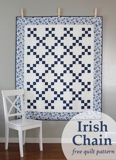 Irish Chain quilt - a free quilt pattern from A Bright Corner