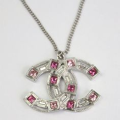 BRAND NEW CHANEL CC LOGOS WITH RHINESTONE PENDANT NECKLACE A96605 PINK