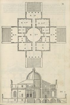 Andrea Palladio | Plan and Elevation of the Villa Rotonda, from I quattro libri dell'architettura | 1570 | The Morgan Library & Museum