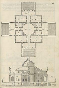 Andrea Palladio | Plan and Elevation of the Villa Rotonda, from I quattro libri dell\'architettura | 1570 | The Morgan Library & Museum
