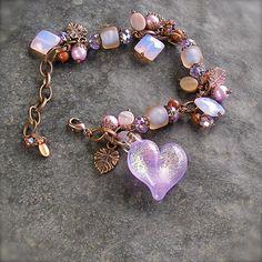Fae Magic Sparkly Lavender lampwork Heart by XannasJewelryBox, $59.00