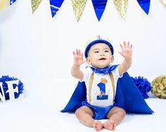 Élite pequeño príncipe personalizado niño 1 traje de cumpleaños, 1r cumpleaños dressup, torta Smash traje, traje de bebé muchacho, príncipe azul bebé