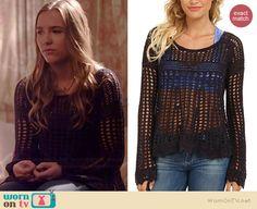 Maddie's black crochet pullover on Nashville.  Outfit Details: http://wornontv.net/39368/ #Nashville