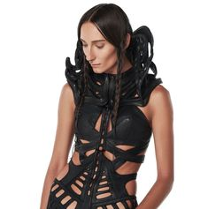 Gelareh-Women's Leather Altea Shoulder Bolero : Ceiba SF Full Body Suit, Black Bodysuit, Coats For Women, Sculpting, Beautiful People, Casual Outfits, Wonder Woman, One Piece, Glamour