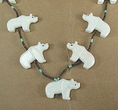 Navajo white bears Fetish Necklace Hector Goodluck