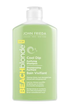 Beauté : Shampoing purifiant, Bain Vivifiant, Beach Blonde de John Frieda http://www.vogue.fr/beaute/buzz-du-jour/diaporama/beach-blonde-de-john-frieda-le-come-back/20642#beach-blonde-de-john-frieda