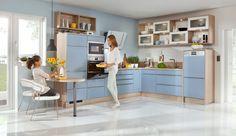 Einbauküche Felia Achatblau/Weiß