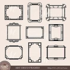 ART DECO FRAME Clip Art: Art Deco Clipart Frames Design Elements Antique Borders Clipart Black Silhouette, Instant Download