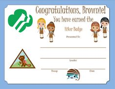 Brownie Hiker Badge Certificate