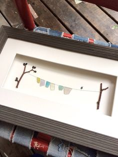 Clothesline sea glass art by sharon nowlan by PebbleArt on Etsy