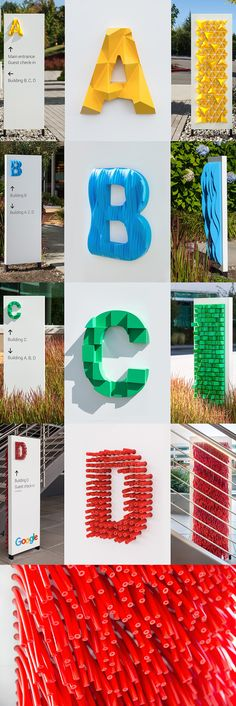 IDEA: Carrying on the bright, textural letters theme into the meeting rooms Directional Signage, Wayfinding Signs, 3d Signage, Environmental Graphic Design, Environmental Graphics, Signage Design, Typography Design, Sign System, Retail Signage