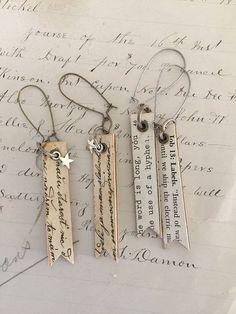 script~decoupaged earrings, dangle earrings, wood earrings, repurposed, upcycled jewelry, ephemera, diy earrings, shabby