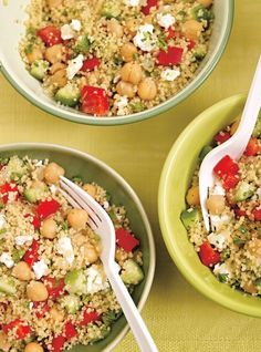 Salade de couscous aux légumes et aux pois chiches Vegetarian Recipes, Cooking Recipes, Healthy Recipes, Healthy Salads, Healthy Eating, Ricardo Recipe, Couscous Salat, Couscous Salad With Chickpeas, Salad Recipes