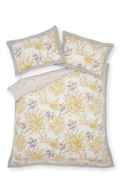 Buy Cotton Sateen Ochre Watercolour Floral Pencil Pleat Curtains from the Next UK online shop