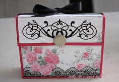 Box I made for my daughter to hold an assortment of pink/black/ grey themed cards.