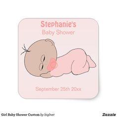 Girl Baby Shower Custom Square Sticker