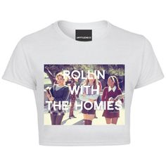 Rollin with the Homies Crop Tshirt ($38) ❤ liked on Polyvore featuring tops, crop top, white tops and white crop top