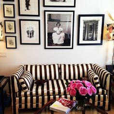Black-and-White Striped Couch - Carolina Herrera Office - House Beautiful Airstream inspiration! Home Decor Inspiration, Room Design, Interior Inspiration, Home, White Upholstery, Striped Couch, House Interior, Interior Design, Home And Living