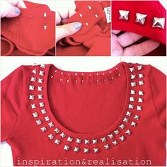 DIY Studded Clothing.  I want to do this to a pencil skirt.