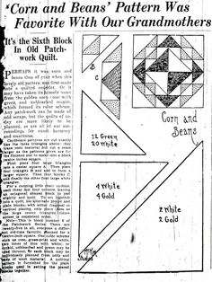Corn and Beans quilt pattern