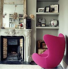 fireplace love... and I want that chair!!!