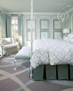 creative ways to make your small bedroom look bigger -   Monochromatic bedroom  mint green.