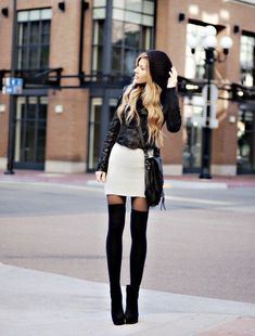 Thigh high boots, beanie. Her legs look incredibly long!