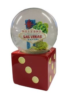 This Red Dice Snow globe features our Welcome Las Vegas Sign with grey sparkles design which red dice base. www.gamblersgeneralstore.com