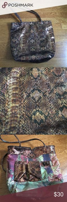 Snake print purse Brown, black & gold snake print purse by Carlos Falchi super fun and a great size not too big and not too small. Carlos Falchi  Bags Shoulder Bags
