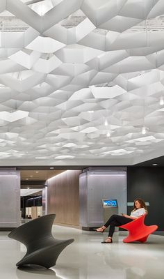 14 Best Wall and Ceiling Texture Types to Consider for Your Home Corporate Interiors, Office Interiors, Ceiling Texture Types, Lounge Bar, Office Ceiling, Ceiling Treatments, Ceiling Design, Ceiling Tiles, Office Interior Design