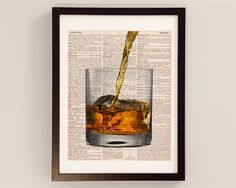 Vintage Scotch Dictionary Print - Cocktail Art - Print on Vintage Dictionary Paper - Scotch Whisky, Whiskey, Mad Men Decor - On The Rocks