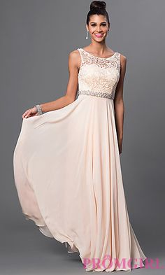 Long Sleeveless Dress with Lace Top and Embellished Waist at PromGirl.com