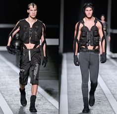 XXl Century. The Future is Now! Alexander Wang x H+M 2014-2015 Fall Autumn Winter Mens Runway Catwalk Looks - Futuristic Racetrack Fitness Sport Extreme Athletics Workout Parka Outerwear Hoodie Puffer Down Jacket Harness Backpack Wrestler Umpire Headgear Hockey Mask Boxing Gloves Helmet Kinesio Sports Tape Sweatshirt Belt Stripes Drawstring Utility Vest Goggles Shorts Sweater Jumper Black Logo Leather Tank Top Leggings
